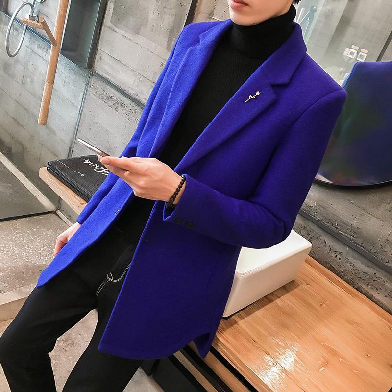 Großhandel 24% Wollmantel Männer Mitte Lange Warme Jacke Herren Wolle  Trenchcoat Abrigo Largo Hombre Winter Slim Fit Männer Blau Schwarz Grau Von  Dreamcloth ... 4af5ee35dc