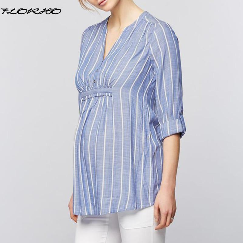 83b3f0356a622 2019 Maternity Clothes 2018 Spring Summer Women Striped Shirts 3 4 Sleeve V  Neck Blouses Casual Loose Splice Pregnancy Tops Plus Size From Namenew