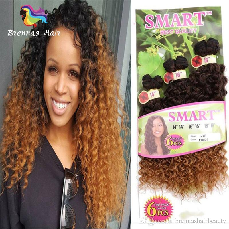 Fiber Synthetic Weft Ombre Hair Extensions Pack Kinky Curly
