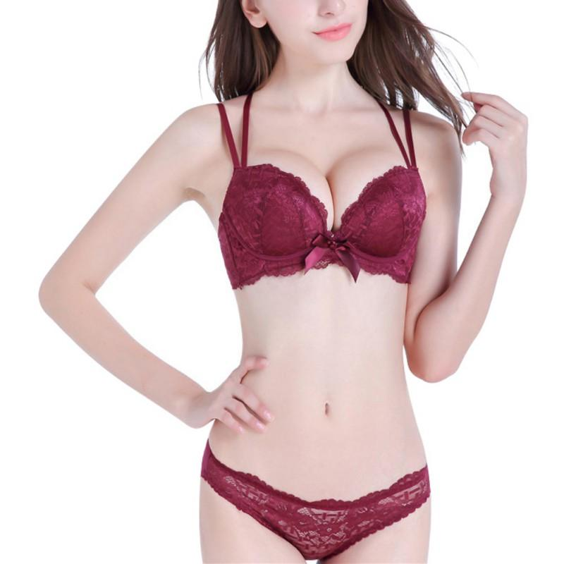 fef26599a9c65 2019 Sexy Lace 3 4 Cup Bra Sets For Women Wireless Thin Cotton Breathable  Comfortable Underwear Solid Color Red Black Lingerie Set From Blueberry07