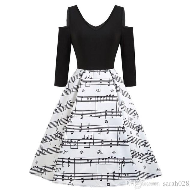 2019 Black Musical Notes Dress Women 2018 Spring New Long Sleeve Print  Rockabilly Retro Female Vintage Vestidos Elegant Party Dresses From  Sarah028 9911b230f5b5