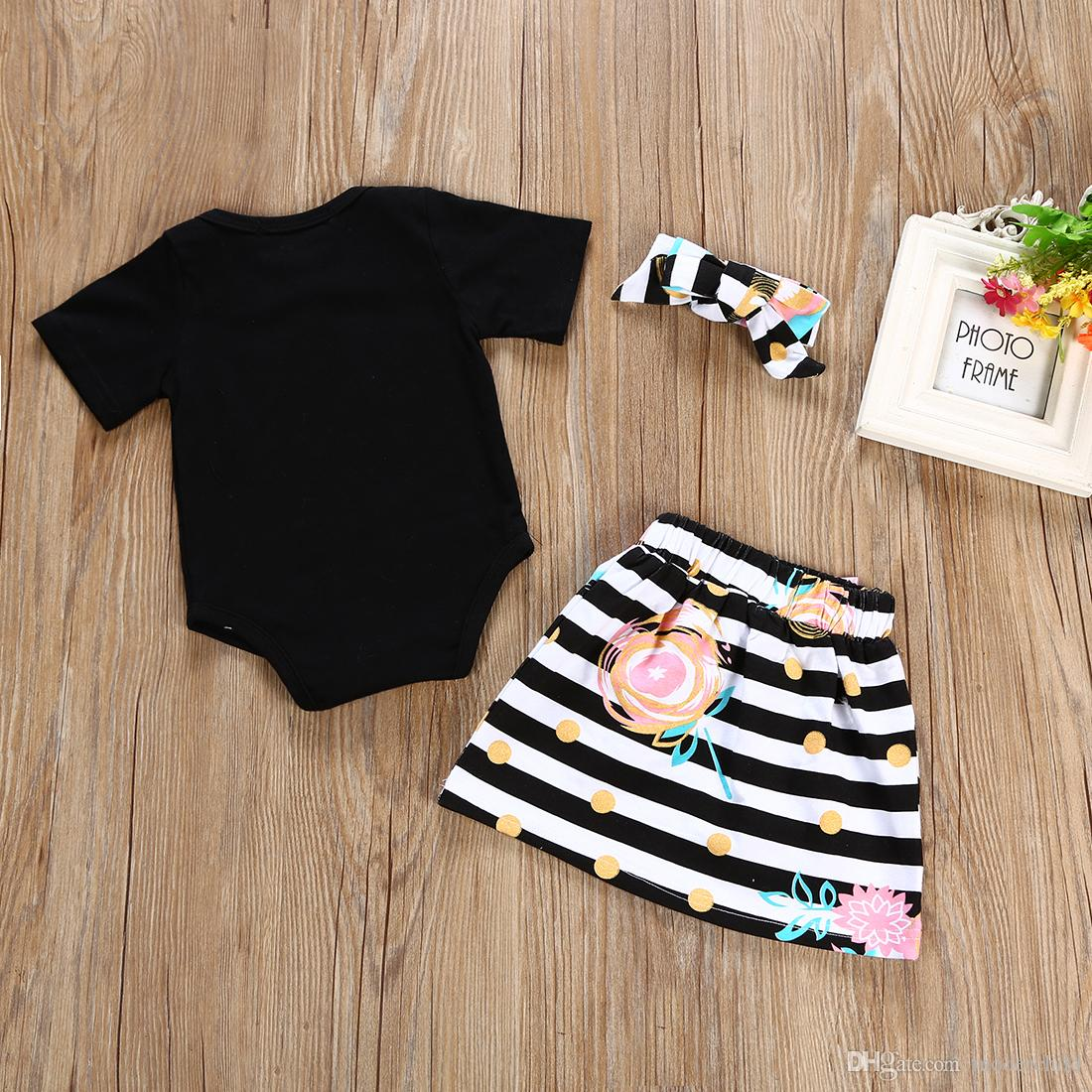 2018 baby girl summer clothes sets kids little sister short sleeve top/romper+tutu skirts+headband outfits