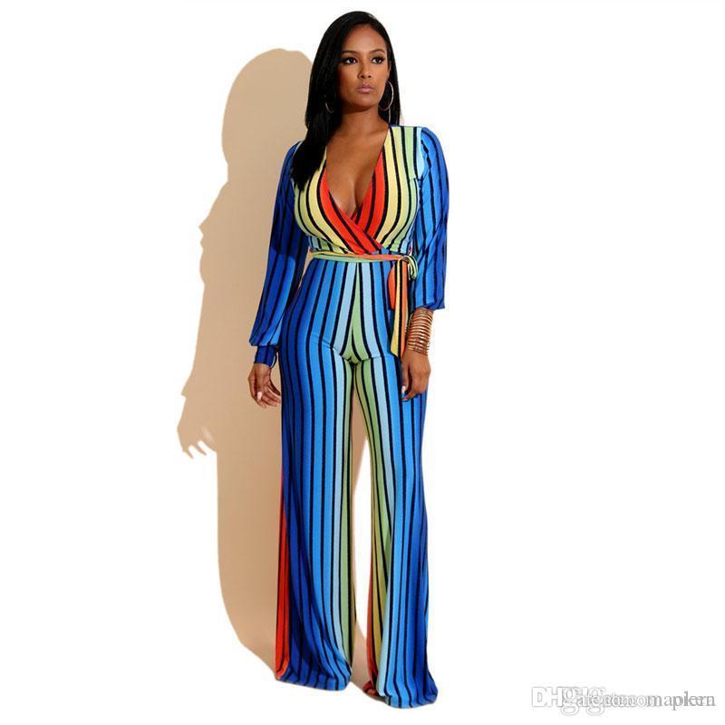 d06a2d9bd7c7 Women Romper Boho Gradient Color Striped Jumpsuit Summer Deep V-Neck ...