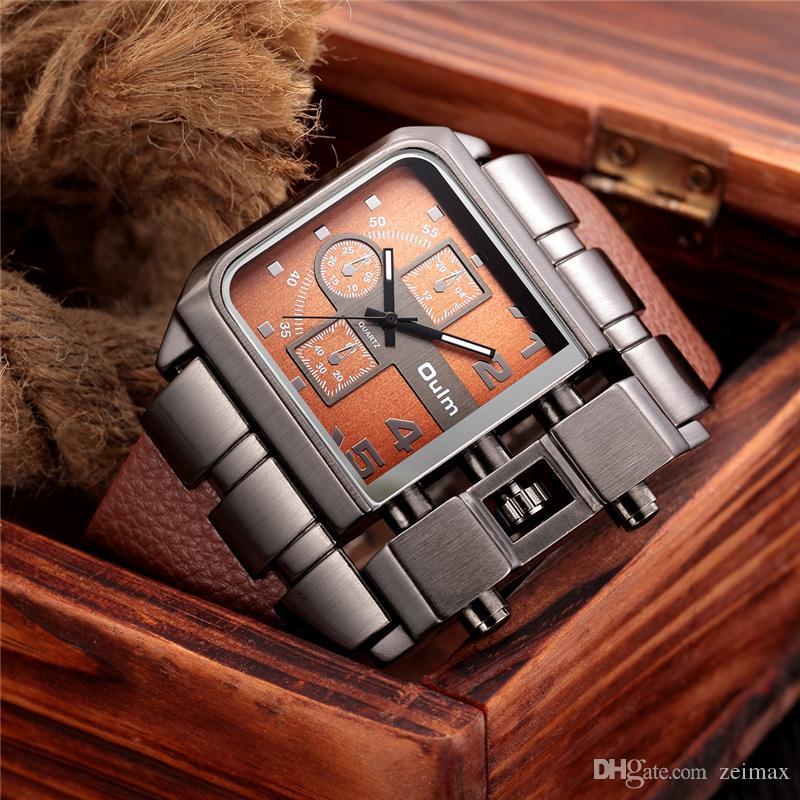 OULM Marke Original Einzigartiges Design Platz Männer Armbanduhr Breites Zifferblatt Casual Lederband Quarzuhr Männlichen Sportuhren