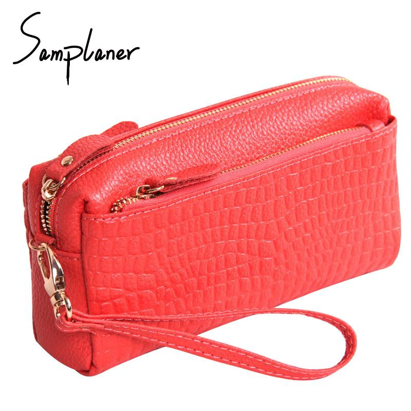 Samplaner Crocodile Zipper Clutch Bags Women Genuine Leather Wristlet Female Small Crossbody Bags Large Capacity Women's handbag