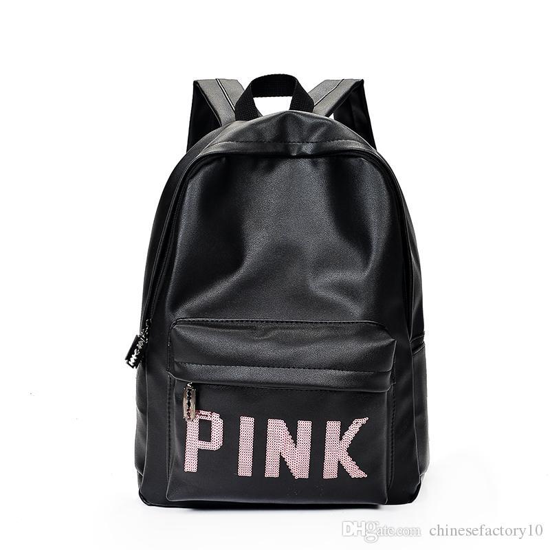 Love Pink PU Leather Backpack Letter Bags Girls Large Fashion Deisgn ... e3de97899d5de