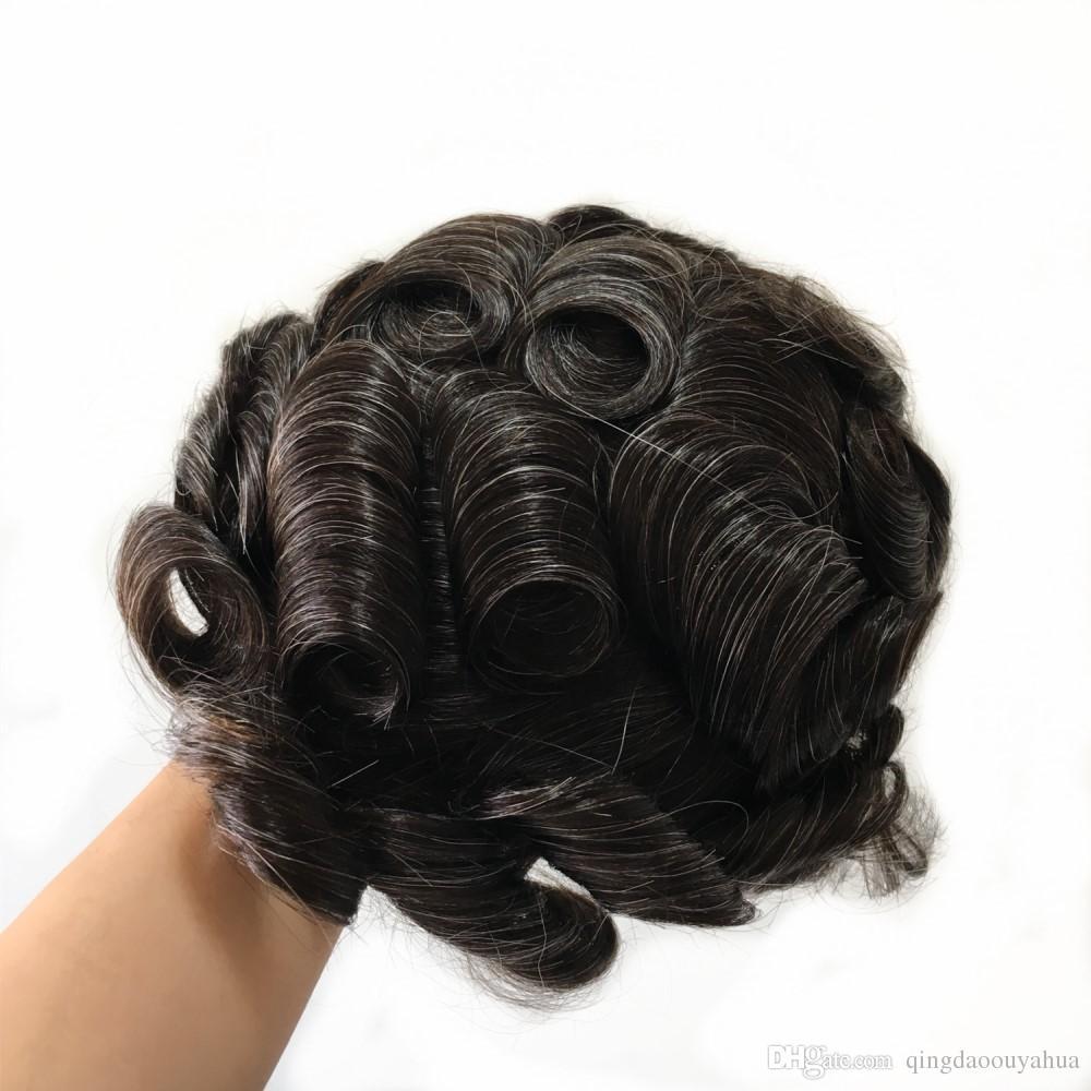 Vendita calda pelle super sottile puro indiano indiani capelli remy pezzi legati a mano mens protesi di alta qualità parrucchino Vari colori