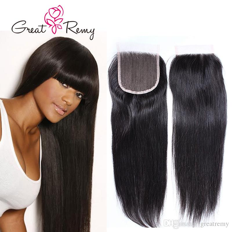 Greatremy® 10A Brazilian Straight Human Hair Pre-Plucked Top Grade Closure with Baby Hair 12-18in Natural Color Best Quality Straight Hair