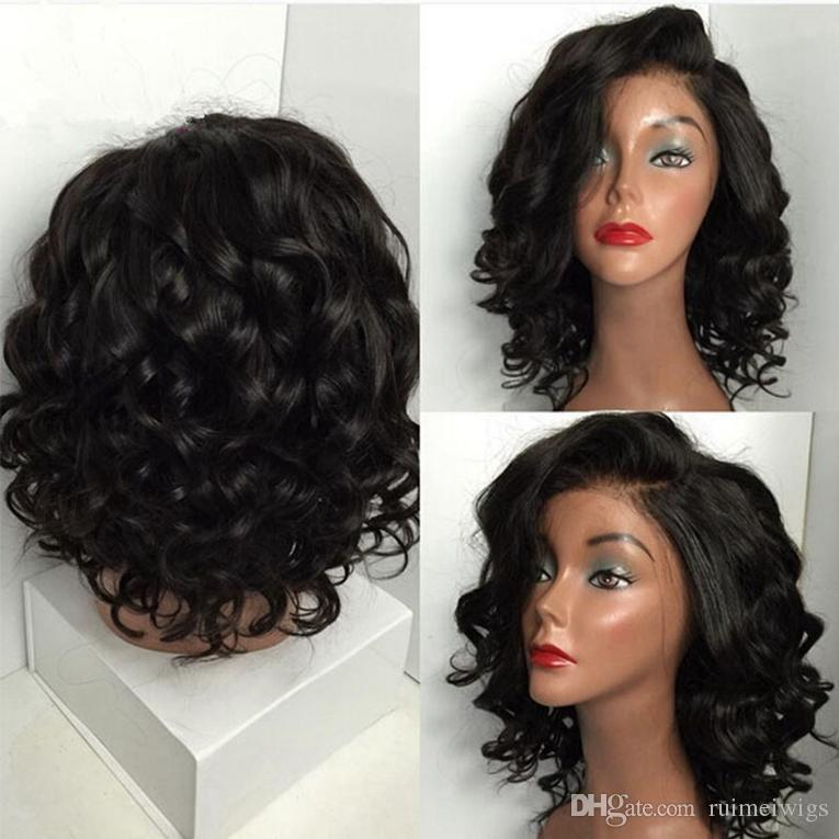 Fine Short Human Hair Wigs With Bangs Brazilian Ocean Wave Remy Human Hair Wigs For Black Women Human Hair Lace Wigs