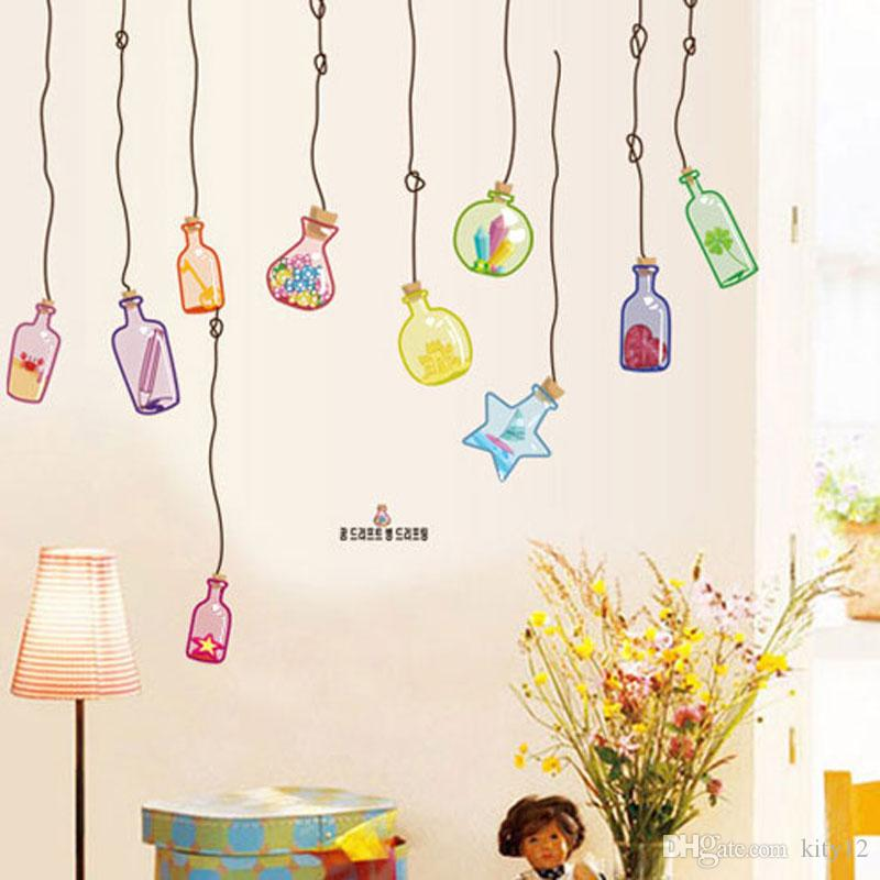 New Creative Drifting Wish Bottle Living Room Bedding Dinning Wall Stickers Home Decor Cheap Murals And Decals From