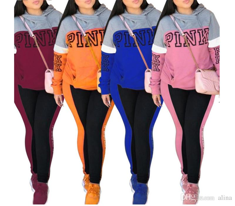 592d39da037 2018 Top Women Long Sleeve Rompers Jumpsuit Pink Printed Color Matching  Pullover Hoodies Tracksuit Spring Autumn Jogging Casual Tops Pants Pink  Pink Women ...