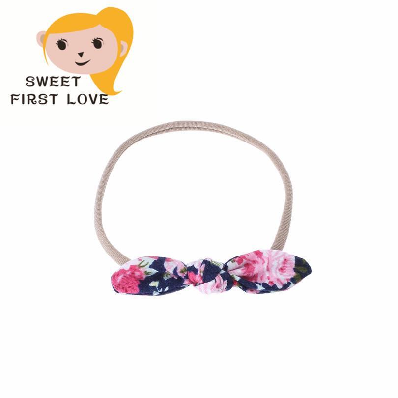 Flowers Print Girls Headbands Floral Bow Elastic Hair band Children Turban Knot Headwear Girl Hair Accessories