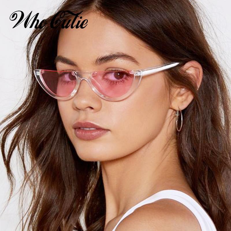 10472786caef5 Compre OMS CUTIE 2018 Meia Lua Magro Sunnies Óculos De Sol Das Mulheres  Designer De Marca Retro Vintage Rosa Lens Cat Eye Óculos De Sol Tons OM463B  De ...