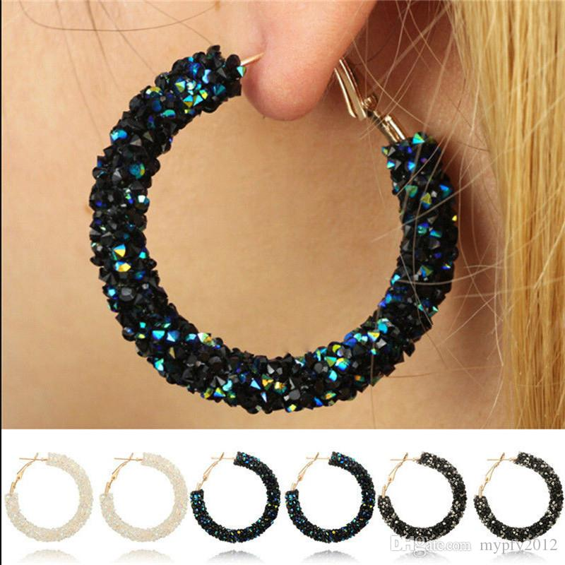 2019 Gold Hoop Earrings For Women Black White Blue Crystal Geometric Round  Shining Rhinestone Big Circle Earring HZ From Mypfy2012 1a15177a2e30