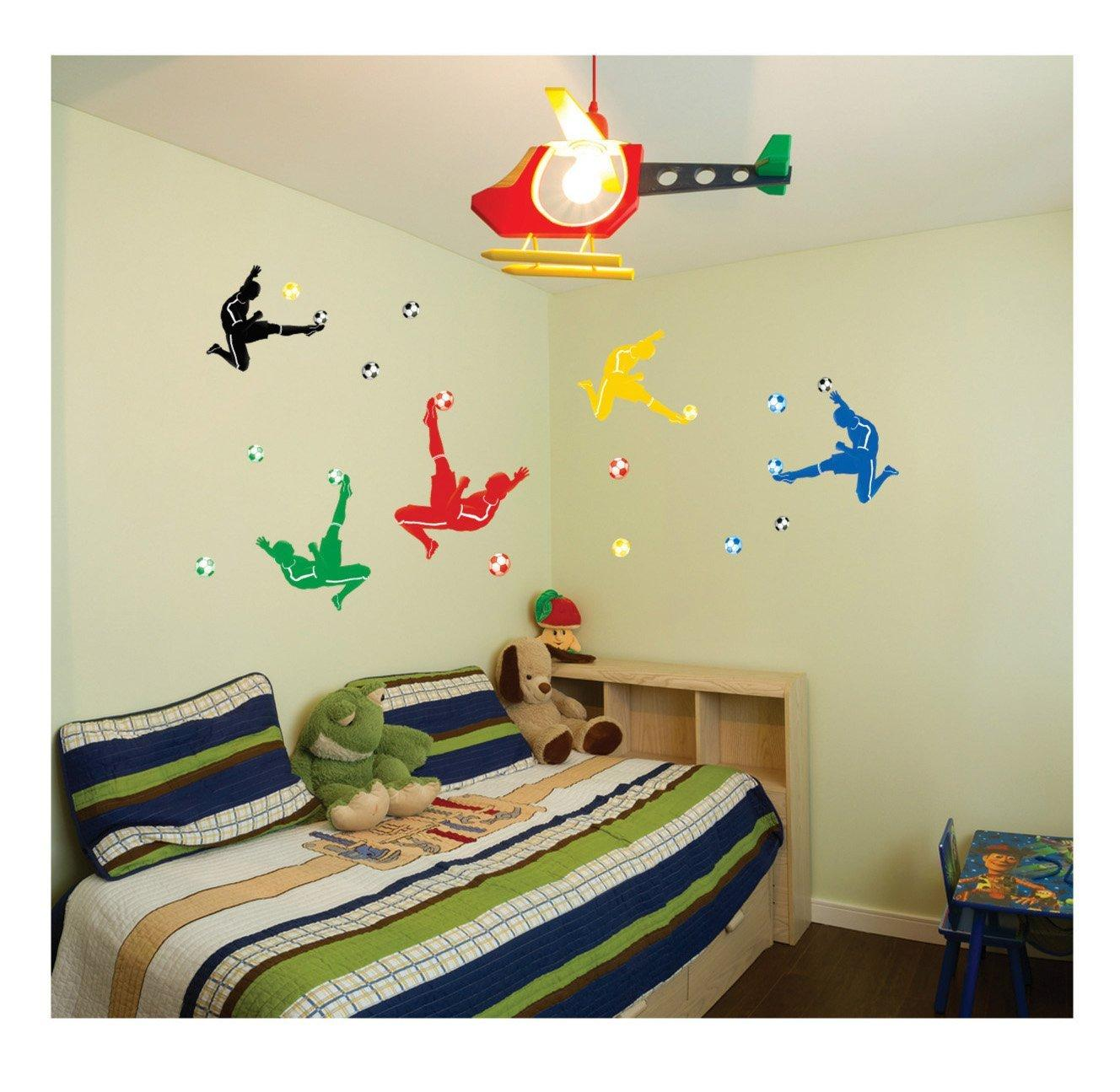 Colorful Palying Football Wall Decal Sticker For Chilidren Study ...