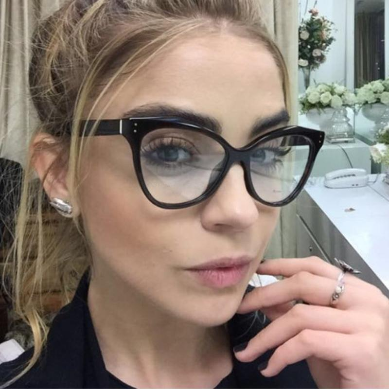 a7f7ddebf750 2019 QPeClou Vintage Cat Eye Glasses Frame Women Brand Retro Rivet Clear Lens  Glasses Ladies Eyeglasses Frame Unisex Eyewear UV400 From Onlycloth, ...