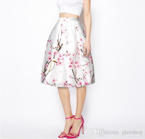 2018 summer 3D Plum blossom printed women Skirt white Tutu skirt female hip hop High waist umbrella Skirt for woman