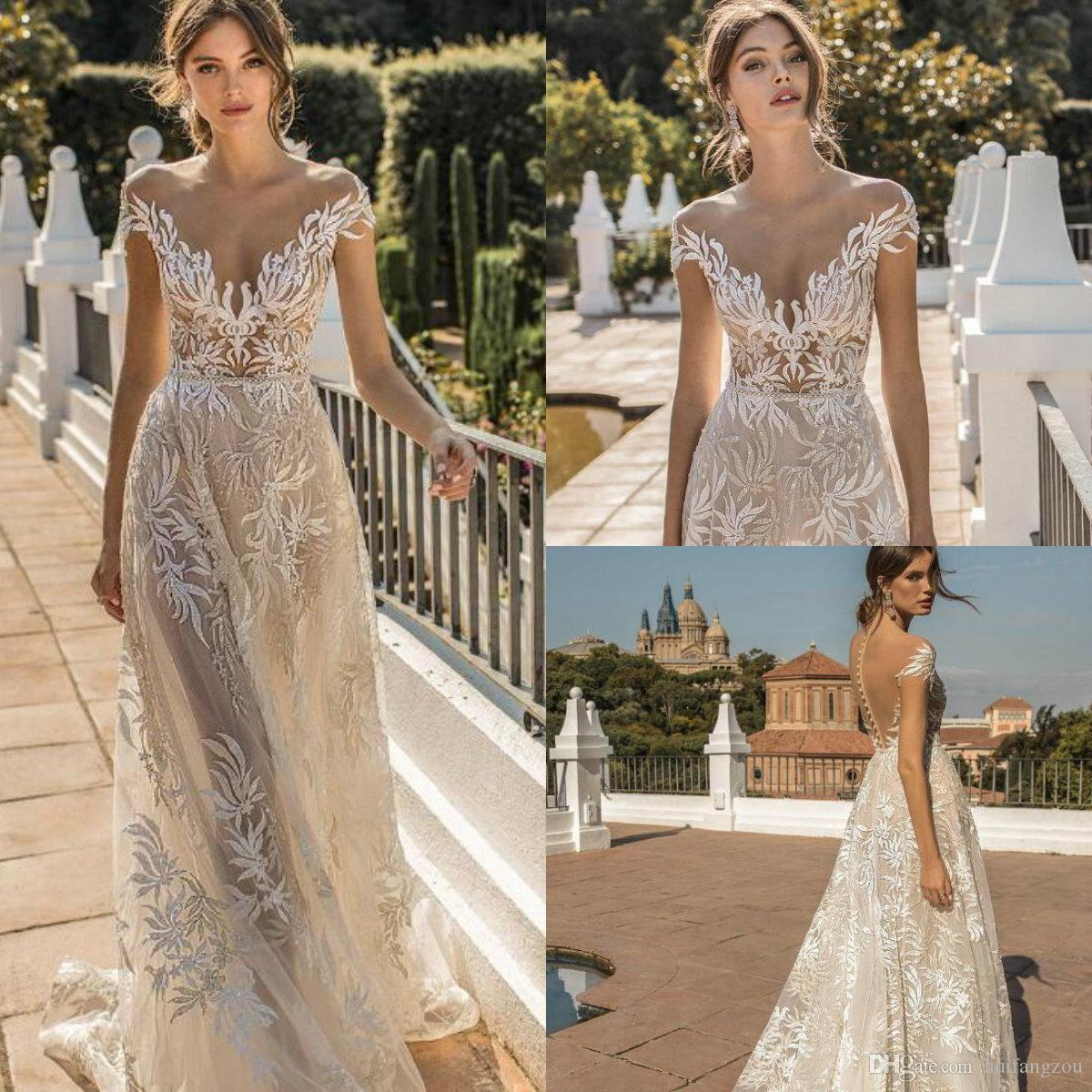 4f1010848fdd Discount Muse By Berta 2019 Wedding Dresses Sexy Sheer V Neck Short Sleeves  Wedding Dress Illusion Lace Appliques Covered Button Bridal Gowns Halter A  Line ...