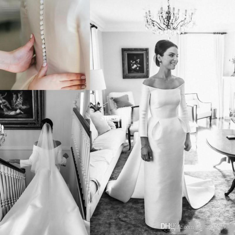 Clean And Modern Long Sleeves Wedding Dresses Bridal Gowns Off ...