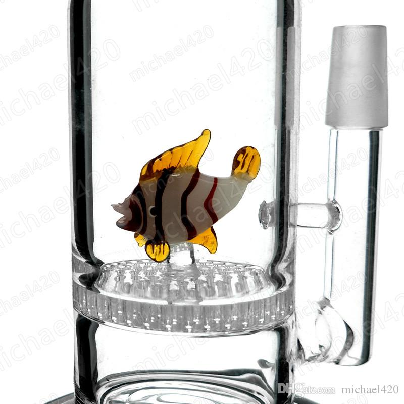 Bent type glass bong animal design honeycomb filter 10 inches 14mm male joint glass water pipe