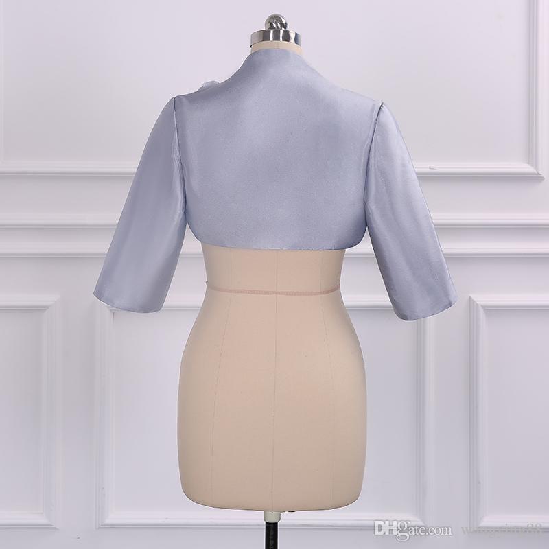 Vestidos para madre de la novia 2018 Longitud de la rodilla Vestido de madre 3/4 Vestido de noche de manga larga con cuentas de encaje Vestido Madre Novia Prom