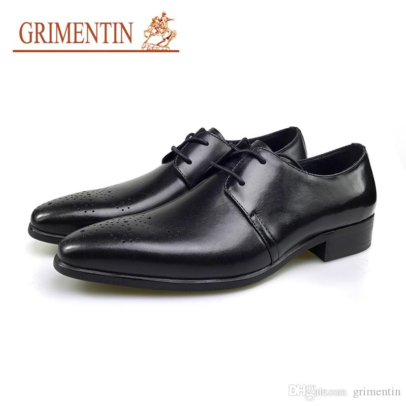 8f9536c234e9 GRIMENTIN Italian Fashion Men Dress Shoes Genuine Leather Black Brown Mens  Oxford Shoes Hot Sale Formal Business Wedding Mens Shoes SE Navy Shoes  Driving ...