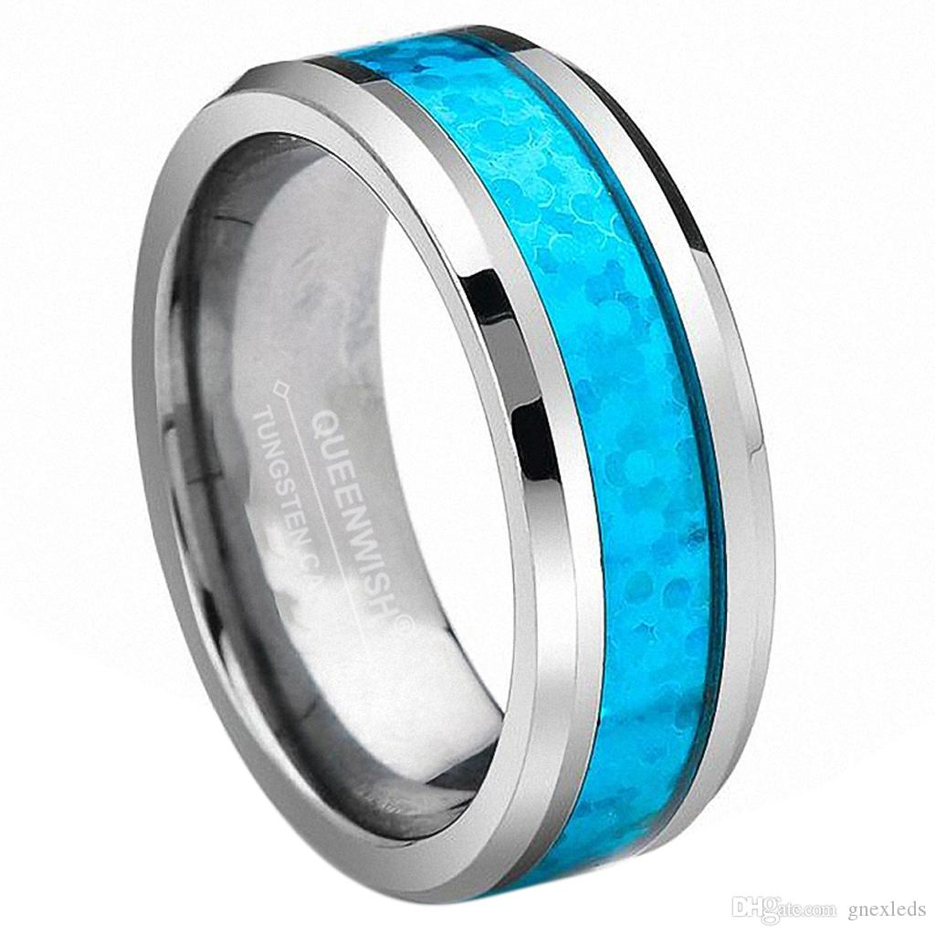 8mm Vintage Opal Tungsten Carbide Rings Infinity Mens Wedding Bands
