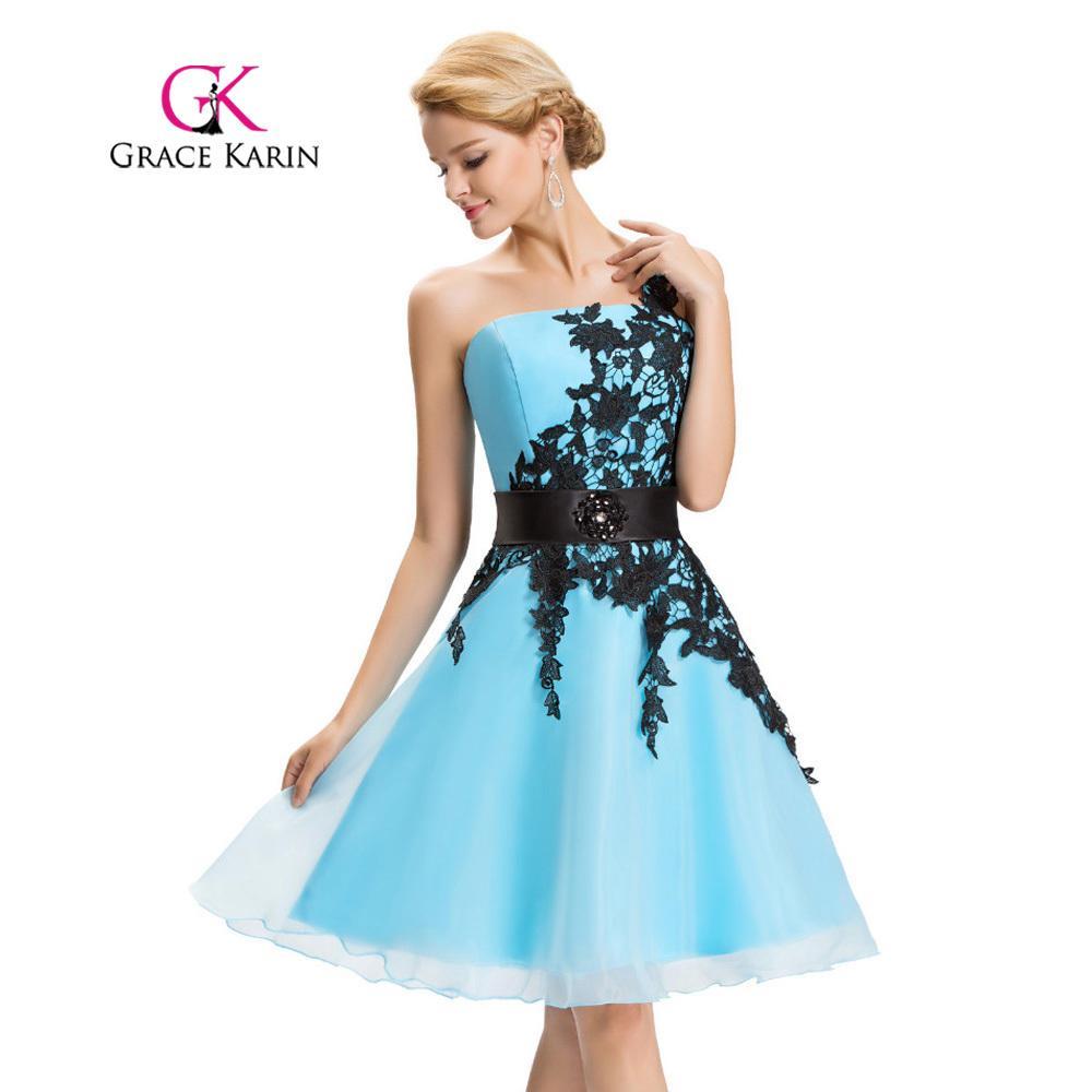 Grace Abendkleider Schulter Kleid Organza 2018 De Karin Spitze Knielangen Robe Cockail Sexy Kurzes Vestidos C18111601 Eine N08mvnw