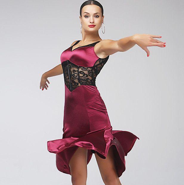 892926df3 2019 Burgundy Adult/Girl Latin Dance Dress Salsa Tango Cha Cha Ballroom  Competition Dance Dress Lace Stitching Sexy Sleeveless Fishtail Dress From  ...