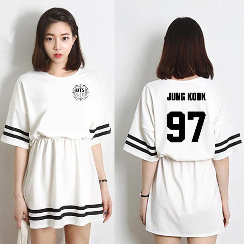 Summer Dress 2018 Korean Fashion Kpop Bts Bangtan Boys Short Sleeve Mini  Dress Women In Same Jin V Jimin Cute Harajuku Dresses Long Summer Dresses  Silk