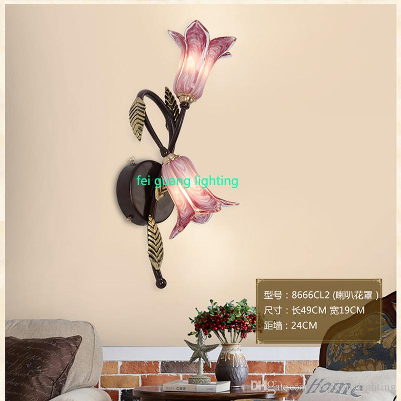 American background wall lights modern garden flowers dining room bedroom bedsideLED wall lamp simple aisle stairs lights