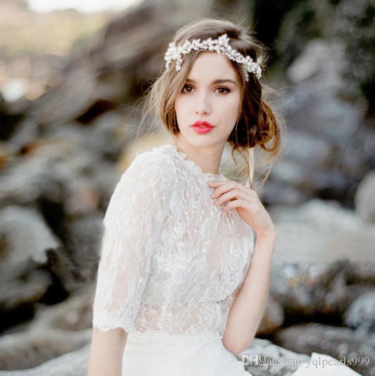 İnci Düğün Düğün frontlet cam Tiara saç saç bandı