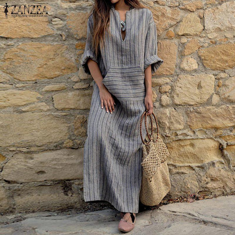 ZANZEA Women Dress 2018 Autumn Sexy V Neck Long Sleeve Striped Dresses  Casual Loose Plus Size Maxi Long Vestidos Y1891107 Evening Dresses For  Party Cocktail ... 600947c876f1