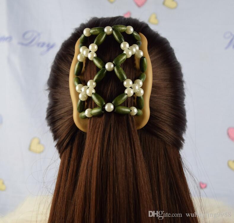 Femmes Perles En Bois Pinces À Cheveux Mixtes Différents Styles En Bois Magique Mode Double Rangée Accessoires Chaude Cheveux Peigne
