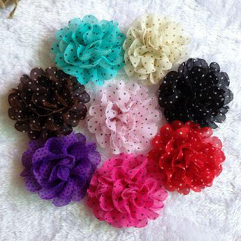 "(30pcs/lot)3.5"" 8 Colors Tulle Chiffon Assorted Colors Flowers For Kids Headband Polka Dot Flower For Girls Hair Wear"