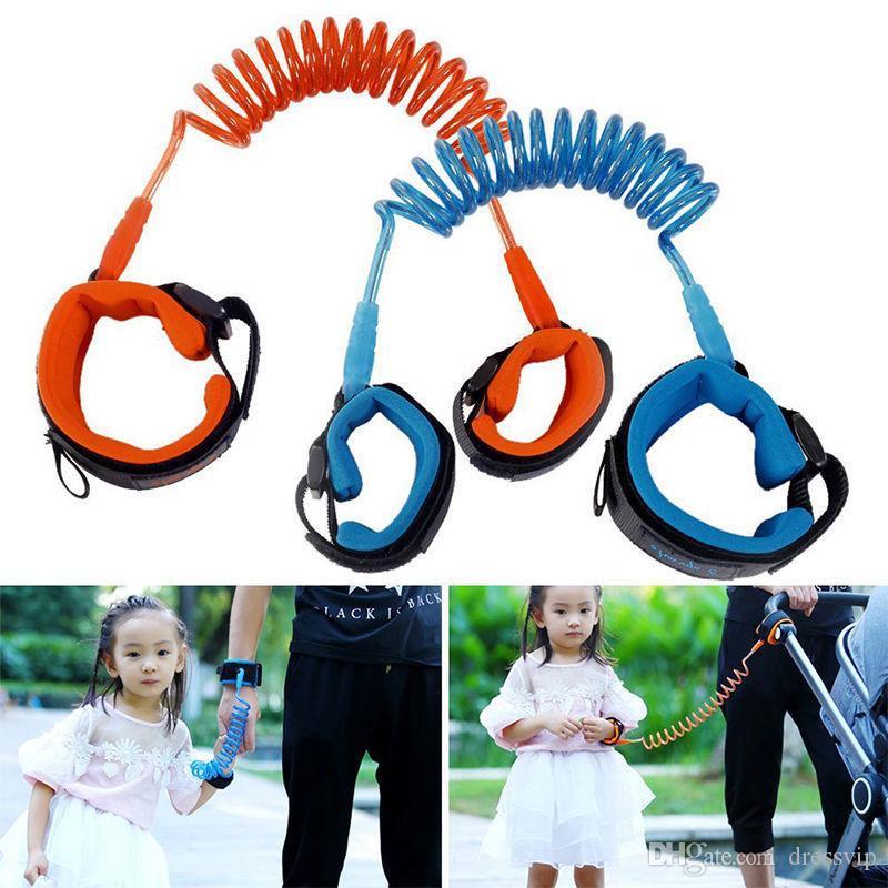 1.5 M 2 M 2.5 M Moda Bebek Çocuk Çocuklar anti kayıp bileklik Bilek Bağlantısı Emniyet Kemeri Askı Halat Tasma metal bağlayıcı ile Ücretsiz