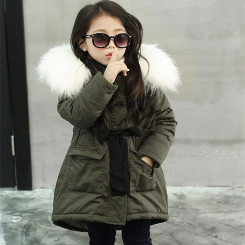 c375db469cb4 Fashion Kids Coat Boys Girls Thick Coat Padded Winter Thick Jacket Clothes  Solid Long sleeve Babe Children Clothes Army Green