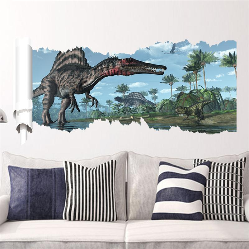 90*50cm newest 4 designs impression 3d cartoon movie Dinosaur home decal wall sticker/boys love kids room decor child gifts