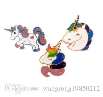Acquista Unicorno Cartoon Spille Pin Unicorni Colorati Badg Collare