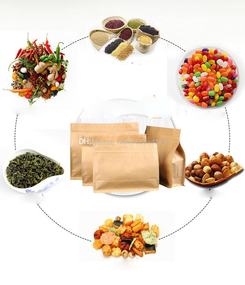 Big Capacity Stand Kraft Paper Food Packaging Zip Lock Pouch Gift Candy Baking Snacks Biscuit Tea Package Storage Heat Seal Bags 4 Size