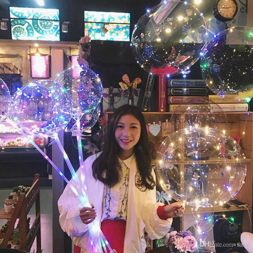 Christmas Gifts LED Lights Bobo Balloons With Stick Led Lighting Up Transparent Balloon Wedding Party Decorative Bright Leds Balloons
