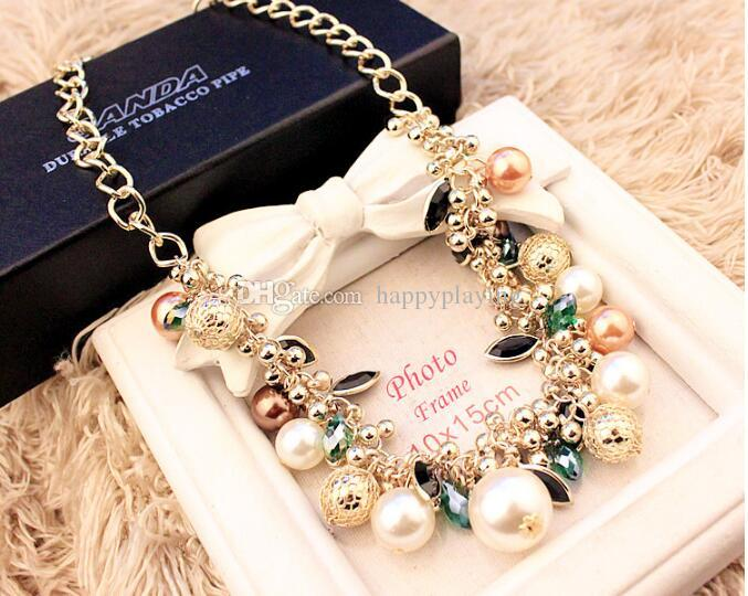 Big Pearl Luxury Colored Gemstone Pearl Crystal Necklace Exaggerated ... 8b4512dc1de7
