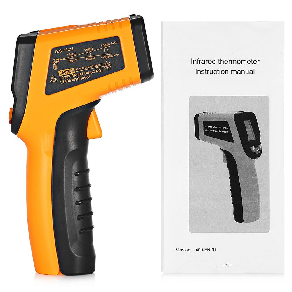 Non-Contact Laser LCD Display IR Infrared Digital C/F Selection Surface Temperature Thermometer Pyrometer Imager Infrared Thermometer Monito