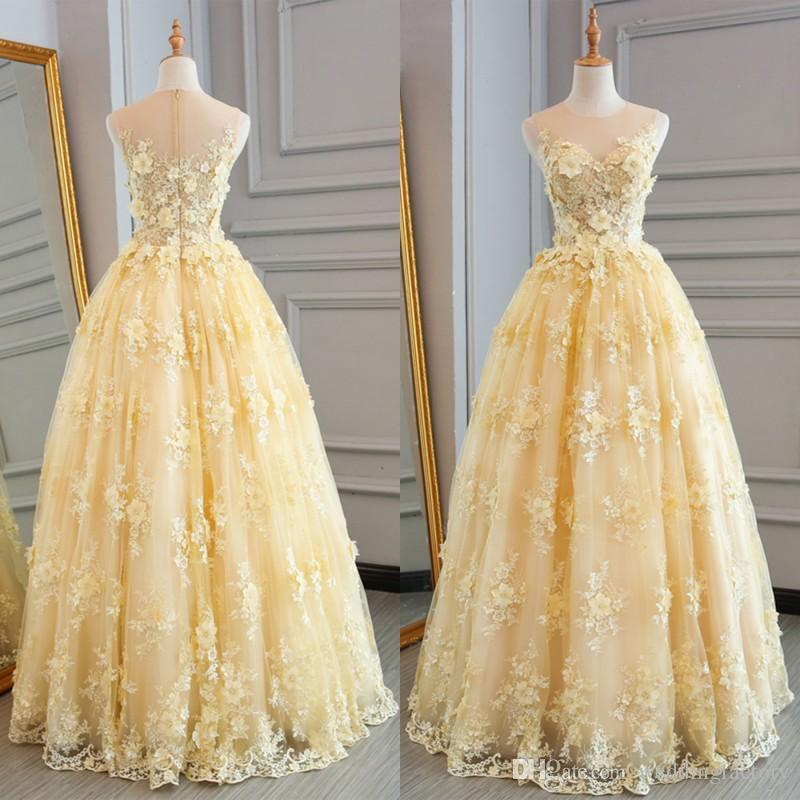 2019 3d Floral Lace Appliques Prom Dresses Long Formal Dress Sheer Jewel Neck  Beaded Flowers Floor Length Evening Party Gowns Zipper Up Prom Night Dresses  ... ab4c6f6e8501