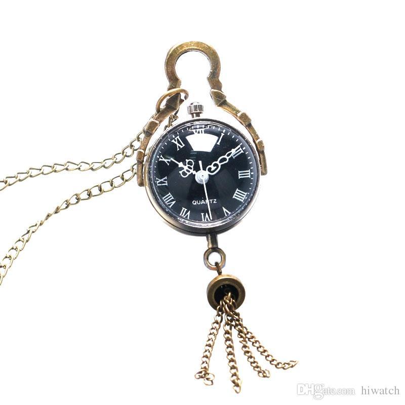 Pequena bola sino design black dial pingente de relógio de bolso de quartzo com cadeia camisola colar melhor presente para o sexo feminino