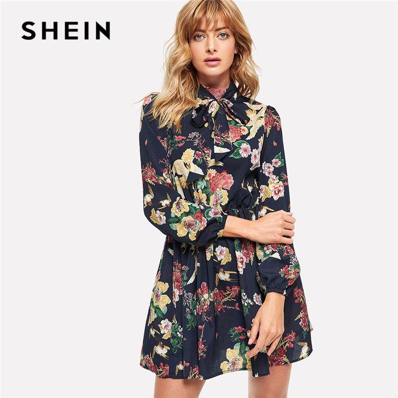 bcc5af614d5c Acquista 20187 SHEIN Multicolor Elegante Streetwear Modern Lady Fashion Tie  Collo Stampa Floreale Vescovo Abito Manica Autunno Donne Abiti Casual A   47.74 ...