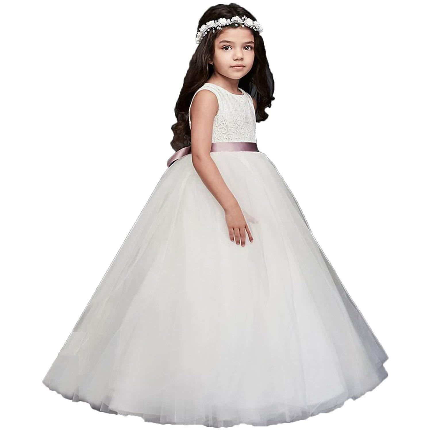 6cfef6e8969a Ivory Fancy Lace Flower Girl Dress with Heart Cutout On Back 2-14 ...