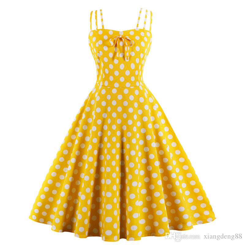aaa21eb9f64 Summer Girls Straps Backless Dress Sexy Womens Polka Dot Printed Ball Gown  1950s Retro Dress Ladies Plus Size Yellow Sundress Cute White Summer Dresses  ...