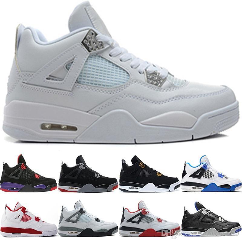 buy online ad34a 1347b Nike Air Jordan Retro Top Raptors 4 4s Hombres Zapatos De Baloncesto Pure  Money Royalty Gato Negro White Cement Bred Toro Diseñador Entrenador  Athletic ...