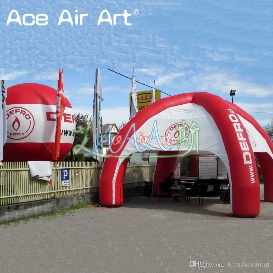 Adatti la tenda dell'annuncio pubblicitario gonfiabile del ragno di rosso, una tenda commerciale di evento della tenda foranea di 4 gambe la promozione con l'aeratore di aria libera